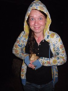 I'm holding a cane toad (Rhinella marina) found in Costa Rica while doing field research on chewing in howler monkeys during grad school. The picture doesn't do him justice--he was enormous--hence my excitement.